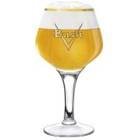 Verre à bière soufflé Bush effet craquelé avec de la bière blonde